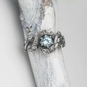 Aquamarine 925 Silver Plated Fashion Ring Size 10